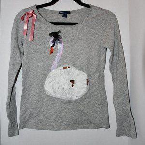 Gap Kids Girl Swan Embellished Tee Size: L (10)